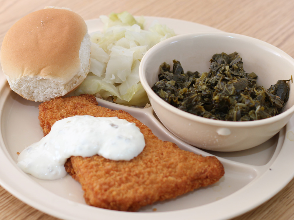 Catfish, Collards, Cabbage
