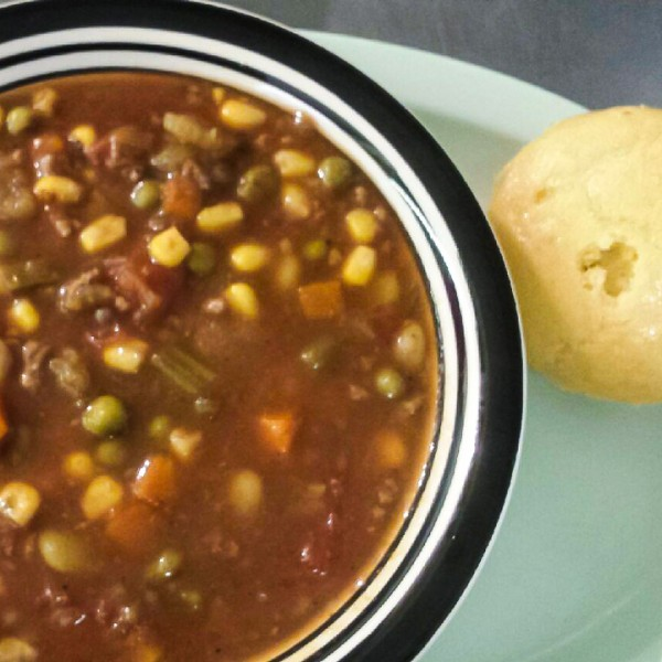 Vegetable Beef Soup and Cornbread